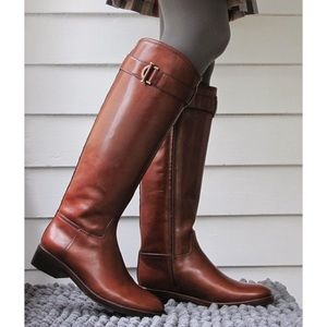 Shoes - ITALIAN LEATHER RIDER BOOTS whiskey brown thick